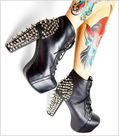One day I will own these.     Jeffrey Campbell Spiked Lita Platform Boots at fredflare.com