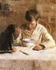 Walter Frederick Osborne (1859-1903) - Cupboard Love......NOTE THE BLACK CAT WATCHING HIM AND HOPING FOR A HAND OUT.....ccp