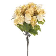 Metallic Gold Sheer Poinsettia Bush