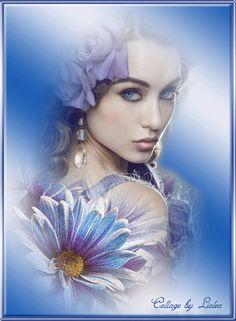 Красивая авторская анимационная картинка девушки Девушка и голубые цветы от…