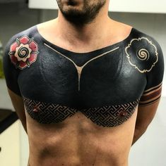 These striking solid black tattoos will make you want to go Chest Tattoo Cover Up, Black Tattoo Cover Up, Solid Black Tattoo, Cover Up Tattoos, Black Men Tattoos, Boy Tattoos, Tattoos For Guys, Black Sleeve Tattoo, Sleeve Tattoos