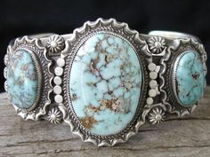 """Dry Creek turquoise mine is located on the Shoshone Indian Reservation near Battle Mountain, Nevada.  The lack of any specific color consistency makes this stone distinctive and unique from other turquoises. Because this turquoise is as rare as the sacred buffalo, the Indians call it """"Sacred Buffalo"""" Turquoise."""