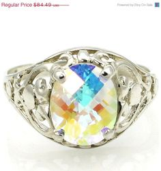 Cyber Week, 30% off, SR004, Mercury Mist Topaz, Sterling Silver Ring