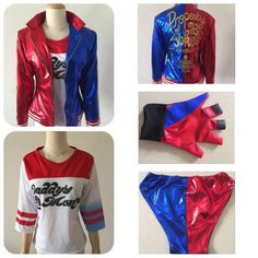 2016 NEW movie Suicide Squad Harley Quinn female clown cosplay costume clothing halloween anime coat jacket one set uniform