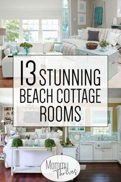 Coastal Bedrooms, Coastal Living Rooms, Living Room Decor, Beach Cottage Bedrooms, Beach Themed Living Room, Cottage Bedroom Decor, Beach Cottage Kitchens, Cottage Style Living Room, Living Room Canvas Art