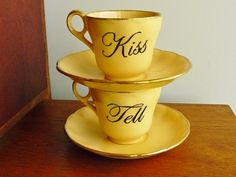 Kiss and Tell hand painted vintage china tea by trixiedelicious