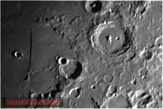 This is a closeup of an object on the Moon called The Straight Wall. It is shaped like a sword with hilt & handle. The Straight Wall is 700 feet long with an angled sloped side & a straight wall on the other side. One of many amazing features on our Moon. For more great celestial images of the Moon, Jupiter & Saturn please check out my Cargeena 2 Astronomy Facebook page at: https://www.facebook.com/Cargeena2Astronomy