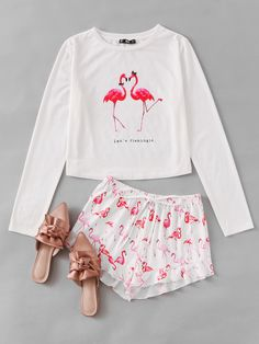Romwe Flamingo Print Tee And Ruffle Shorts Pajama SetL