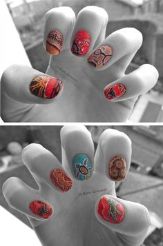 Aboriginal Nail Art, so cool! Love the turtle but looks like a ton of work!