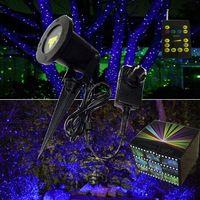 Blue static holiday garden lights