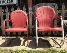 vintage metal chairs http://auntkatiesattic.com/wordpress/wp-content/uploads/2012/07/cute-red-metal-outdoor-chairs.jpg