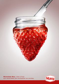 The shading and all the seeds on the Strawberry look incredibly realistic as does the rim of the jar. Very cool concept for a poster.