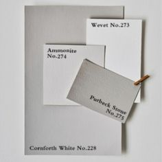 Wevet for a Moore Match. Ammonite - more gray than White - but possible for wainscoot and white upper walls. Farrow And Ball Living Room, Farrow And Ball Kitchen, Farrow And Ball Paint, Farrow Ball, Living Rooms, Dining Room Paint Colors, Room Colors, House Colors, Greige Paint Colors