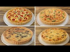 Learn how to make a quiche at home from scratch. 4 easy and delicious recipes to make a quiche fillings and one recipe for flaky quiche crust. Quiche Recipes, Pastry Recipes, Cake Recipes, Cooking Recipes, Quiches, Salmon And Broccoli, Broccoli Quiche, Cheese Quiche, Roast Chicken Recipes