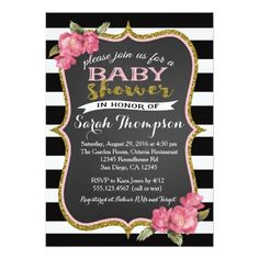 Floral Pink Black and White Baby Shower Invitation ❤ Affiliate ad link. Fun baby shower invites - customize your invitations. 50th Birthday Party Invitations, Pink Wedding Invitations, Floral Invitation, Bridal Shower Invitations, Custom Invitations, Invitation Ideas, 30th Birthday, Surprise Birthday, Baby Invitations