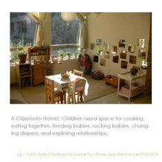Dramatic play space in 2-3 year old classroom.  Reggio Inspired Practice.