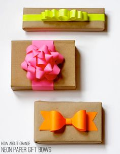 12 Holiday Packaging Ideas, from Katy Svehaug on the Etsy blog. I especially like the brown paper wrapping and neon paper gift bows.