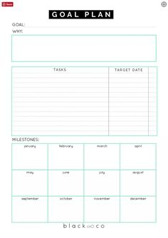 A planner to help you make your goal plan. As simple as possible. Make your plan, work on it consistently and you will be Printable Goal Sheets to Help You Stay on Track This Year Goals Planner, Planner Pages, Life Planner, Weekly Planner, College Planner, College Tips, Goals Template, Business Plan Template, Planner Template