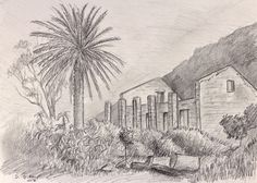 Old House on Chapmans Peak - Pencil on paper. 210 x 297 mm.  This is the  old ruined Forester's Cottage on Chapman's Peak overlooking Hout Bay, Cape Town. The forester lived here early in the 20th Century when the mountain was covered in pine plantations. There's a good hiking trail I enjoy up there.