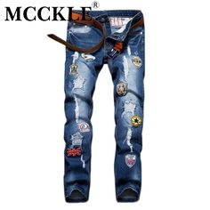 (29.06$)  Buy here  - MCCKLE Slim Fit Men Ripped Patch Jeans Pants Designer Distressed Jean Trousers  Male Straight Blue Denim Joggers With Patches