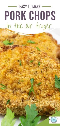 The best boneless breaded pork chops made in the air fryer with a crispy and crunchy exterior. Ready in less than 15 minutes. A great weeknight dinner. #airfryerporkchops #airfryerbonelesspork #crispyporkchops #porkchops Best Fried Pork Chops, Air Fry Pork Chops, Cooking Pork Chops, Breaded Pork Chops, Pork Cutlets, Air Fryer Dinner Recipes, Best Dinner Recipes, Lunch Recipes, Pork Tenderloin Recipes