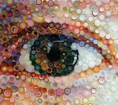 Influenced by Chuck Close, Mary Ellen Croteau makes portraits by using recycled bottle caps in their original color and size.