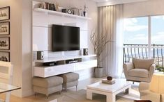 Manhattan Comfort City Floating Wall Theater Entertainment Center Maple Cream / Off White, TV Stands - Manhattan Comfort, Minimal & Modern - 1 Living Room Tv Wall, Living Room Tv, Home And Living, Sala, Living Room Designs, Floating Wall, Home Decor, House Interior, Room Design