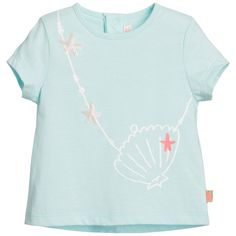 Baby girls sweet t-shirt by Billieblush. Made from soft cotton jersey, it has short sleeves, a round neckline and fastens at the back with poppers. On the front, there is a cute print of a clam and star fish with the designer's butterfly logo attached to the side.<br /> <ul> <li>100% cotton (soft cotton jersey feel)</li> <li>Machine wash (30*C)</li> <li>Designer colour: Turquoise</li> </ul>