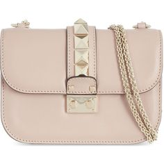 Valentino Stud lock small shoulder bag (4.883.665 COP) ❤ liked on Polyvore featuring bags, handbags, shoulder bags, bolsas, purses, handbags shoulder bags, chain shoulder bag, pink leather handbags, pink leather purse and hand bags