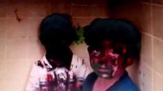 Irmãos são filmados pelo pai após terem os rostos pintados