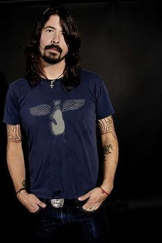 Dave Grohl... Rocking the hipster stache & hair since the beginning
