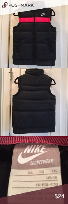 Nike Girls black w/hot pink Puffer Vest sz XL Girls Nike Puffer vest in like new condition.  Size XL girls but Works as a women's XS.  Great quality very warm vest. Nike Jackets & Coats Vests