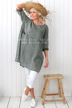 HAPPY Linen Tunic, PINE GREEN