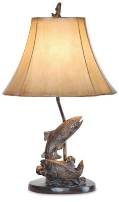 Fishing Table Lamp, Lake Trout Fish, Bronze Finish, 25in, Faux Leather Shade