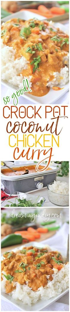 The BEST Easy Coconut Curry Crockpot Chicken Family Dinner Recipe - Yummy Slow Cooker Meal Prep by Dreaming in DIY - This AMAZING Thai inspired popular dish is easy to make in the crock pot with so much depth of flavor! This is going to be your favorite new way to make coconut chicken curry for your family at home in your trusty slow cooker. | Food Recipes