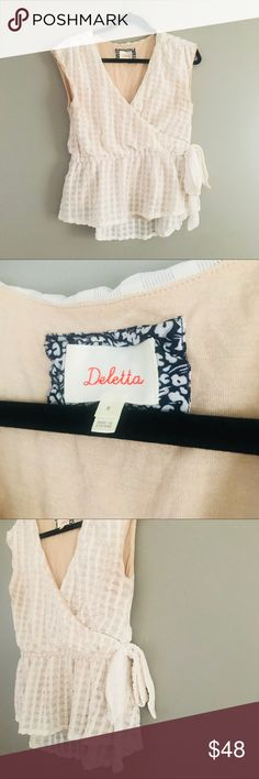 Anthropologie Deletta Wrap Eyelet Top Anthropologie Deletta brand top with side tie  gorgeous top excellent spring time top you can wear stylish into summer as well EUC Anthropologie Tops