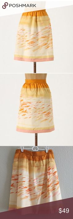 """Anthropologie we love Vera goldfish bowl skirt NWT From Anthropologie website: Tiny swimmers dart across We Love Vera's silken A-line.   Side zip  Silk; cotton lining  Dry clean  21""""L  Imported  Style No. 20782314 Anthropologie Skirts A-Line or Full"""