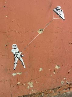 Star Wars Street Art - I could do something similar in my son's room.