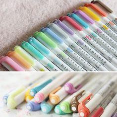 15 Color Full Set - Zebra Mildliner Soft Color Double-Sided Highlighter Marker