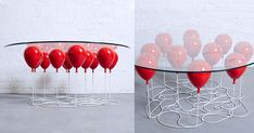 The UP Balloon Coffee Table designed by Duffy London cleverly creates the illusion of a glass tabletop supported by 11 helium balloons.