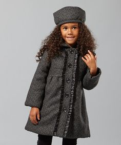 Take a look at this Black Tweed Ruffle Peacoat - Girls by Penelope Mack on #zulily today!