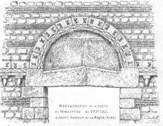 """abbaye mérovingienne de Pental à St-SAMSON DE LA ROQUE (Eure)- ARCHITECTURE MEROVINGIENNE, 1) LES EGLISES: 1: Elles sont pratiquement toutes disparues, comportent une charpente en bois, et sont de 3 types: *Un 1° type constitue des églises formant un """"groupe épiscopal"""", composé en général de 2 églises et d'un baptistère indépendant, construits en parallèle les uns des autres: ainsi FRÉJUS, AVIGNON, NÎMES, VIENNE (St Pierre), AUXERRE, SENS, GENÈVE, TREVES, ..."""