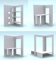 Diferentes muebles plegando 2 paneles de madera, carton, etc. Estantes, mesa, mesa baja o banco, bancos bajos o espacio de guardado