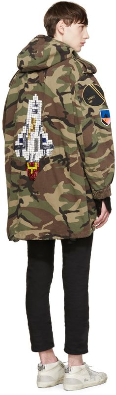 Saint Laurent Green & Brown Embellished Camouflage Jacket