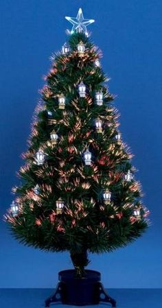 Fibre Optic Christmas Tree with Lanterns.