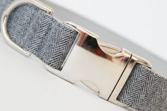 Dog Collar Grey Flannel Herringbone by pecanpiepuppies on Etsy