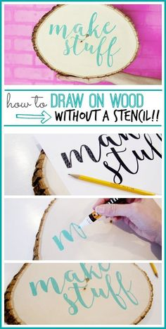 Draw on wood without a stencil how to from #MichaelsMakers Sugarbee Crafts