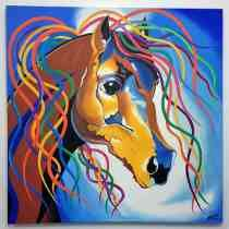 Pintura Abstrata Óleo Sobre Tela Cavalo - Frete Grátis