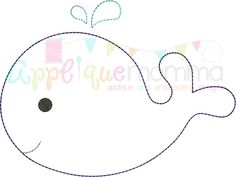 Vintage Whale 16 Embroidery Design Comes in a vintage/redwork finish in… - Crafts For Boys Felt Animal Patterns, Felt Crafts Patterns, Quiet Book Patterns, Applique Patterns, Applique Designs, Embroidery Designs, Elephant Template, Whale Pattern, Baby Mobile