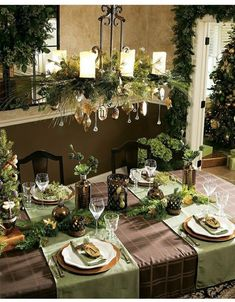 Lovely holiday table and decorated light fixture